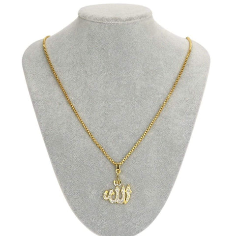Crystal Allah Bling Long Chain Necklace in gold color