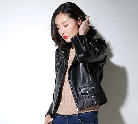 Image of New Genuine Leather Slim Biker Chick Jackets worn by model from Almas Collections
