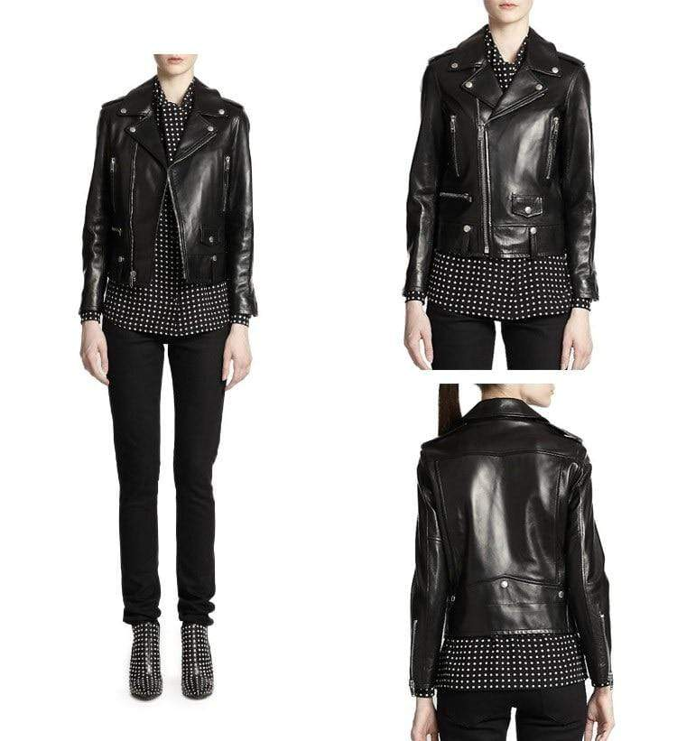 New Genuine Leather Slim Biker Chick Jackets by model from Almas Collections