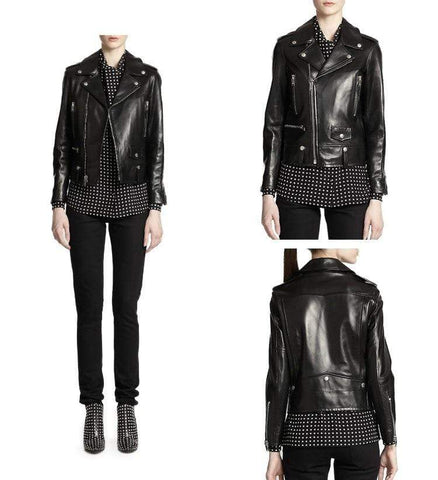 Image of New Genuine Leather Slim Biker Chick Jackets by model from Almas Collections