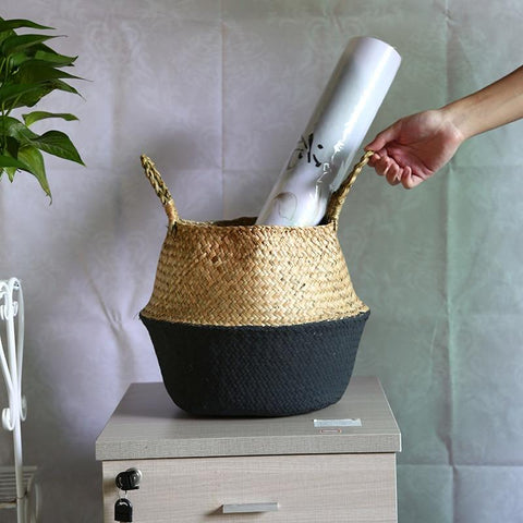 Image of New Eco Friendy Wicker Rattan Flower Planter Basket HM1 hm1 Almas Collections