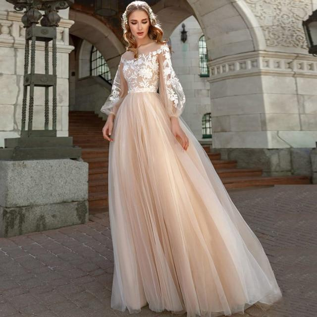 Custom made Tulle Boho Wedding dress from Almas Collections
