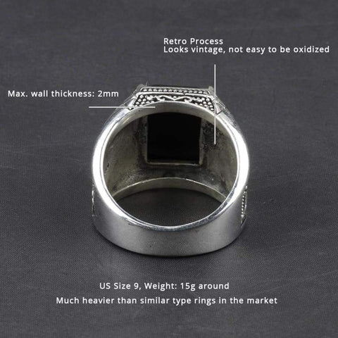 Real 925 Sterling Silver Black Obsidian Natural Stone Rings For Men  NS3 IS1 IS2 VAL1 - Almas Collections
