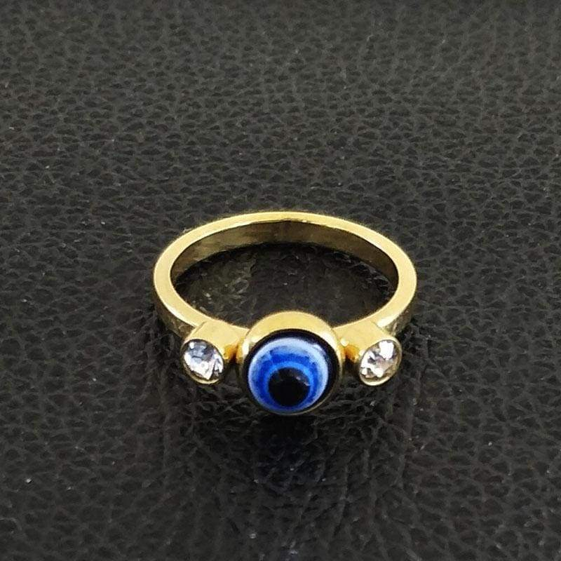 Stainless Steel gold colour/ Crystal evil eye ring IS1 Almas Collections ring