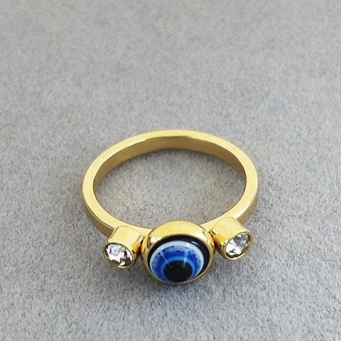 Image of Stainless Steel gold colour/ Crystal evil eye ring IS1 Almas Collections ring
