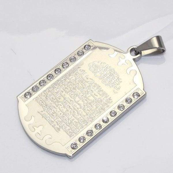 Stainless steel silver plating Ayatul Kursi pendant & necklace for men women - Almas Collections