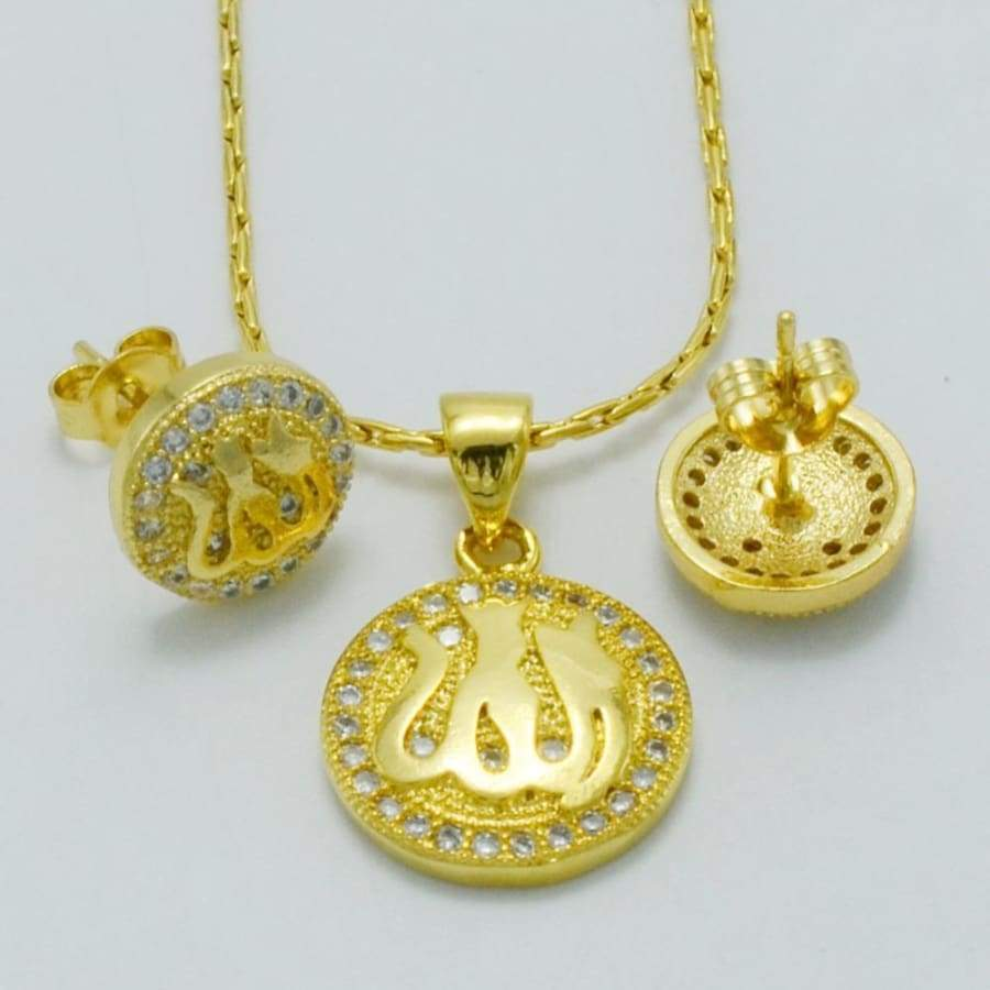 Zirconia Allah Necklace/Earrings for Kids IS1 CS1 Almas Collections set