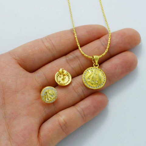 Image of Zirconia Allah Necklace/Earrings for Kids IS1 CS1 Almas Collections set