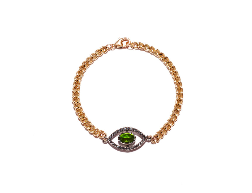 Green Tourmaline Evil Eye Bracelet