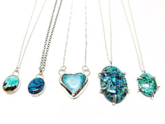 Turquoise and Larimar OOAK Necklaces