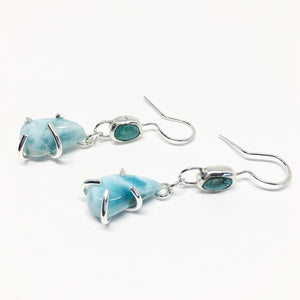 Turquoise & Larimar Drop Earrings