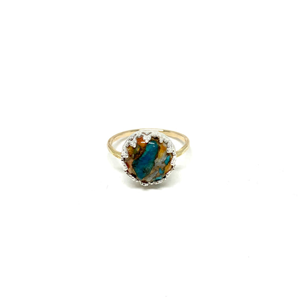 OOAK Round Copper Turquoise Ring #001