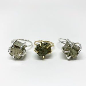 Raw Pyrite Statement Ring
