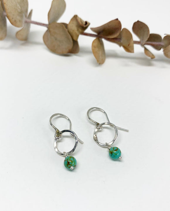 Mini Turquoise Round Drop Earrings