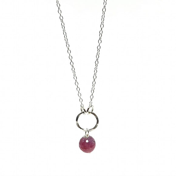 Ruby Gemstone Drop Necklace