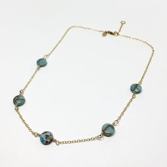 Turquoise Disc Choker Necklace