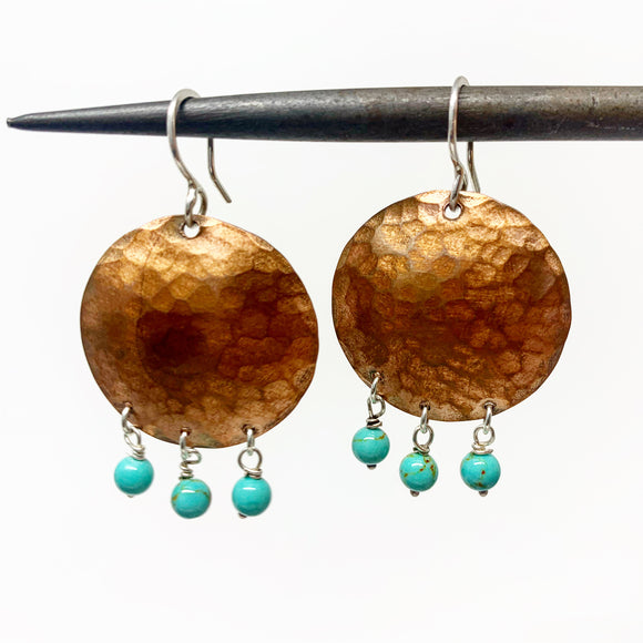 Full Moon Earrings with Turquoise Drops
