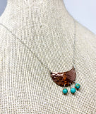 Crescent Half Moon Necklace with Turquoise Drops