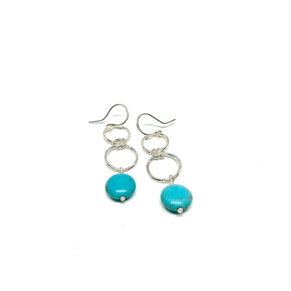 Wooden Turquoise Double Drop Earrings