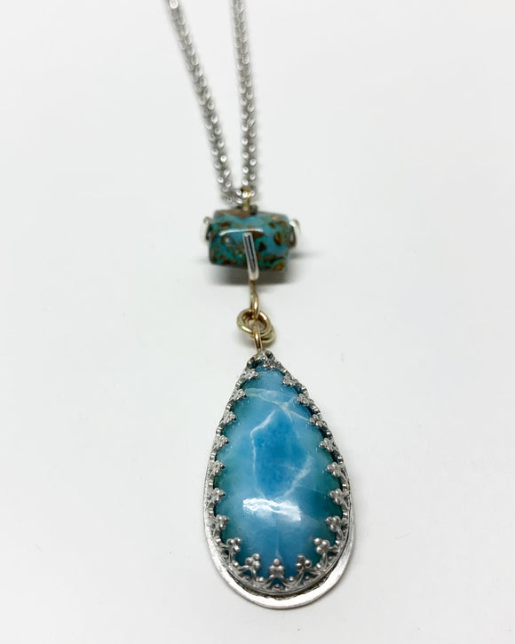 OOAK Opal and Larimar Drop Necklace