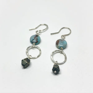 Turquoise and Pyrite Drop Earrings