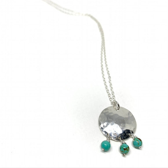 Small Full Moon Necklace with Turquoise Drops