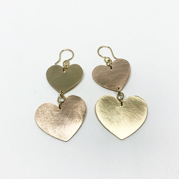 Double Heart Silhouette Earrings