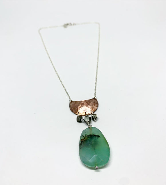 Crescent Half Moon Necklace with Emerald and Pyrite