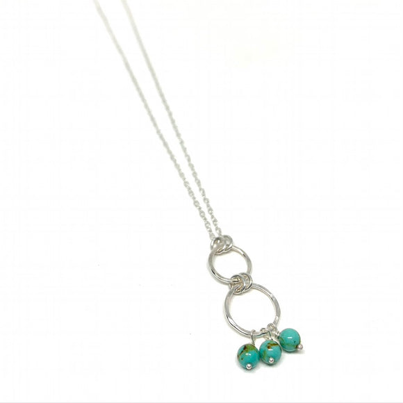 Mini Turquoise Infinity Double Drop Necklace