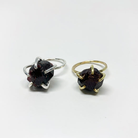 Raw Garnet Statement Ring