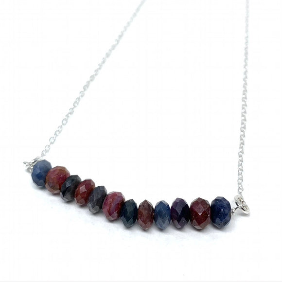 Ruby & Sapphire Bar Necklace
