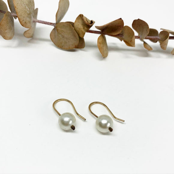 White Pearl Drop Hugger Earrings
