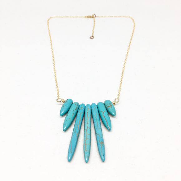 Turquoise Howlite Lucky Number 7 Spike Necklace