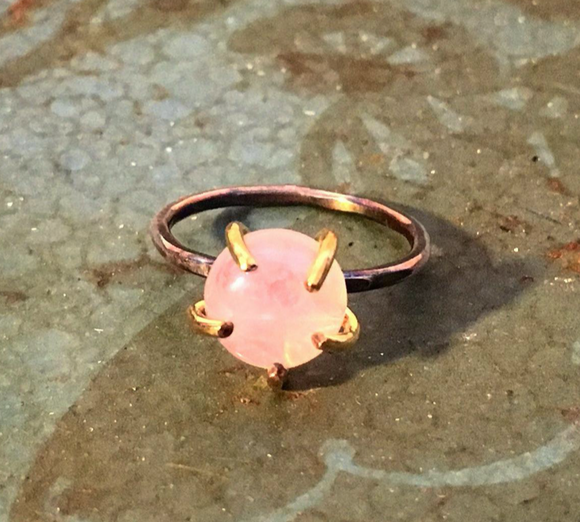 Rose Quartz Prong Ring