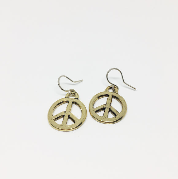 Small Brass Peace Sign Earrings
