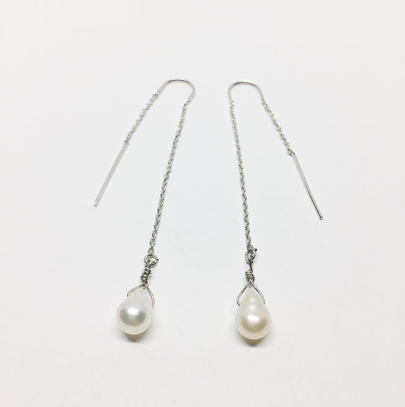 White Teardrop Freshwater Pearl Ear Threaders