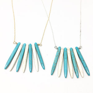Turquoise and Cream Howlite Spike Necklace