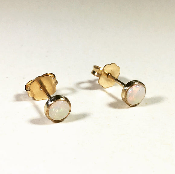 Rainbow Opal Stud Earrings - Opal Birthstone Earrings