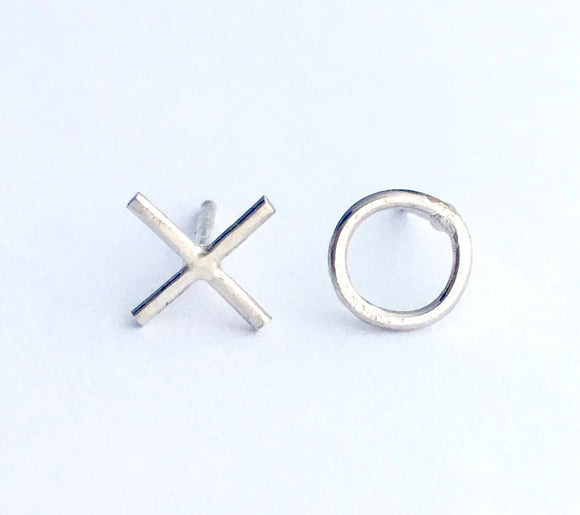 XO Initials Stud Earrings - Hugs and Kisses Charm Earrings