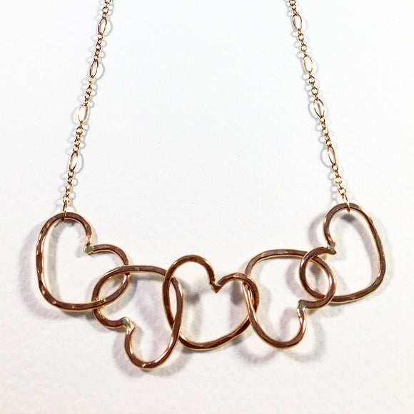 Five Linked Hearts Necklace