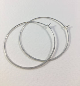 Large Rustic Crescent Moon Hoop Earrings