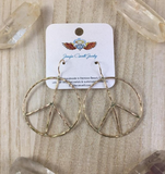 Rustic Peace Sign Earrings - Let There Be Peace Earrings - Large