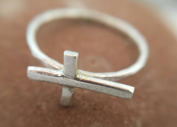 Mini Sideways Cross Ring