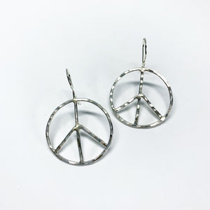 Rustic Peace Sign Earrings - Let There Be Peace Earrings - Small