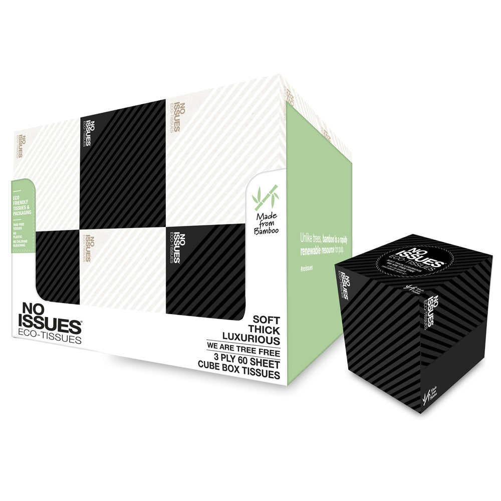 Eco-Tissues Cube Black on Black and White on White Stripe (12 Cubes)