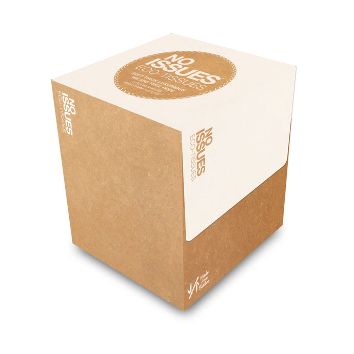 Cube Box Tissues - Brown on White