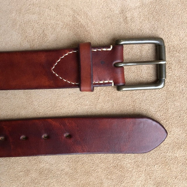 Handmade Leather Belt, Full Grain Vegtan Cow Hide,  Solid Brass Roller Buckle, Hand Stitched French Linen Thread, Burnished Edges, custom length Jeans Belt Dark Chestnut Red Brown