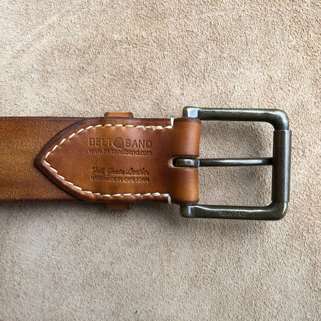 Handmade Leather Belt, Full Grain Vegtan Cow Hide,  Solid Brass Roller Buckle, Hand Stitched French Linen Thread, Burnished Edges, custom length Jeans Belt Dark Tan