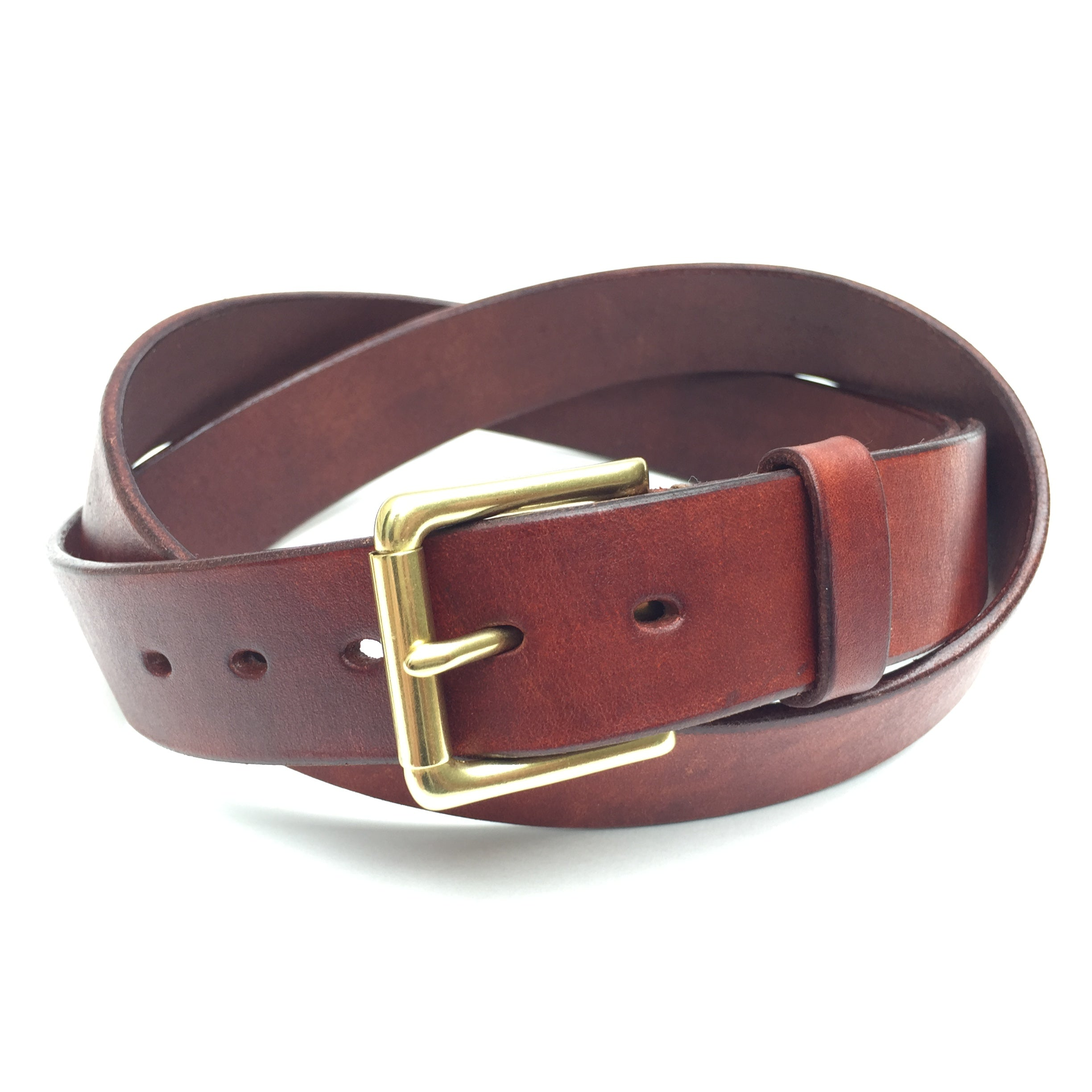 Belt & Band Handmade Vegetable Tanned Leather Chestnut Belt Solid Brass Roller Buckle Custom Size length