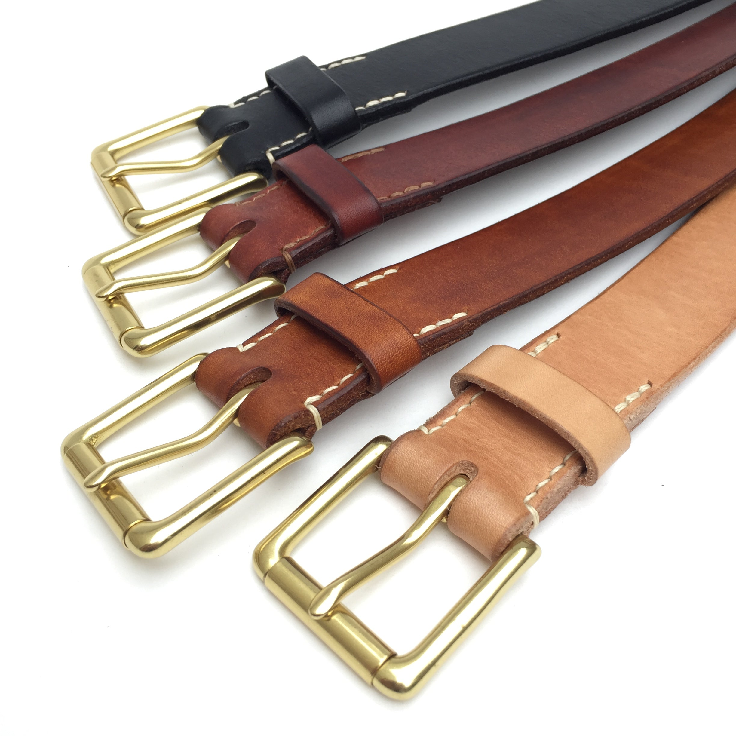 Belt & Band Bespoke Handmade Vegetable Tanned Colours Leather Belt Solid Brass Roller Buckle Custom Size length SA